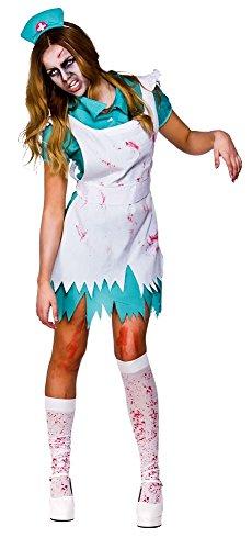 Bloodthirsty zombie nurse + stockings halloween ladies fancy dress adult costume (women: 18-20)
