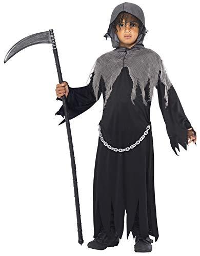 Kapuze Sensenmann Kostüm - Smiffys, Kinder Jungen Sensenmann Kostüm, Gewand und Kapuze, Größe: M, 35987
