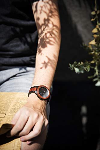 Zeitholz Herren-Holzuhr analog mit Sandelholz-Armband Modell Zittau schwarz - braun - 3