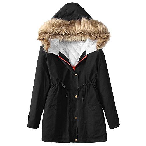 SEWORLD Winterjacke Steppjacke Mantel Damen Heißer Einzigartiges Design Warmer Mantel Winter Langarm Kapuzenjacke Warme Baumwolle Gefütterte Kleidung(Schwarz,EU-40/CN-M)