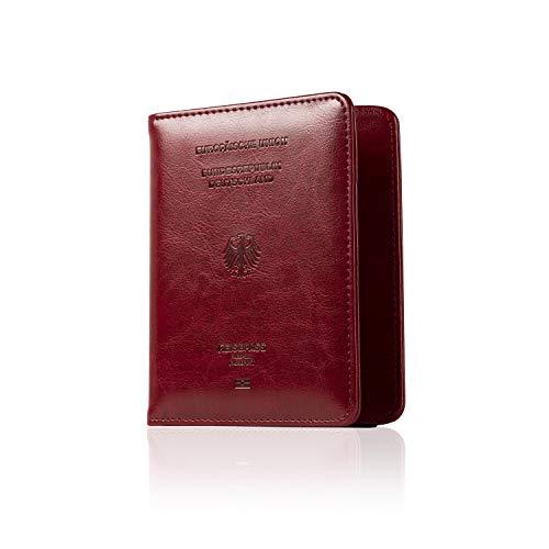 CALIPSO Reisepasshülle - Designer Travel Wallet für den Reisepass - Praktischer Passport Cover mit Zwei separaten Fächern für Impfpässe & Co. - Organizer Hülle   Reiseorganizer   Etui (Bordeauxrot)