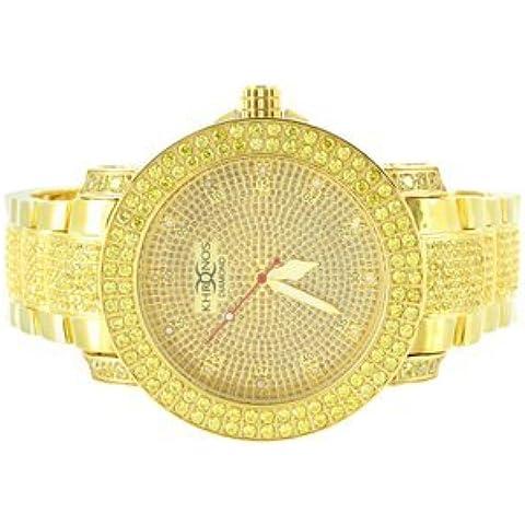 Iced Out in oro 14 k con diamanti veri da uomo, con 2 file di classe Khronos-Orologio da donna, lunetta in acciaio