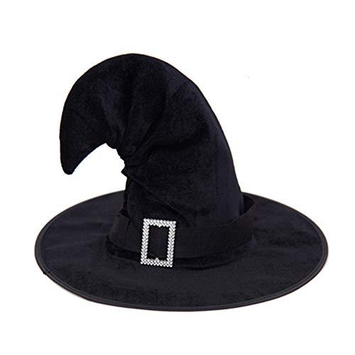 ZGRZQBX Halloween Erwachsene Kinder Gebogen Ecke Hexe Hut Mit Strass Schnalle Stirnband Kostüm Mädchen Halloween-kostüm (Strass Hexe Kostüm)