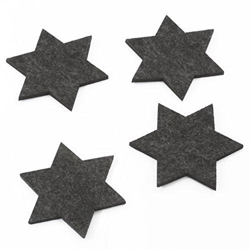 Oblique-Unique® Filzuntersetzer Sterne 4er Pack für Tisch und Deko – Weihnachten (Dunkelgrau)