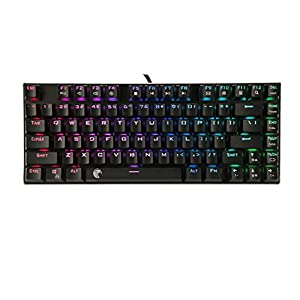 HUO JI RGB Beleuchtete Mechanische Tastatur TKL Kompakt 81 Tasten Outemu DIY Blaue Switches mit LED-Beleuchtung Aluminum QWERTY Layout Modular Keyboard Z-88 Schwarz