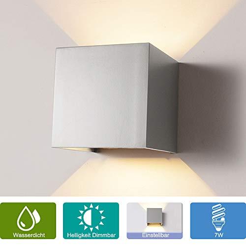 Dimmer-paket (Elitlife 7W Dimmbar Aluminium Wandleuchte Außenlicht LED Warmweiß 230V 3200K Einstellbare Beleuchtungswinkel LED für Innen und Außen [Energieklasse A++])