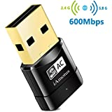 Amotus USB WIFI Adaptador AC600 Dual Band Wireless Dongle 600Mbps 802.11ac Nano Receptor para Windows XP / Vista / 7/8 / 8.1 / 10 (32 / 64bits) / Linux / MAC OS X 10.7-10.11