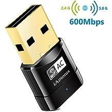 Amotus USB WIFI Adaptador AC600 Dual Band Wireless Dongle 600Mbps 802.11ac Nano Receptor para Windows XP / Vista / 7/8 / 8.1 / 10 (32 / 64bits) / Linux / MAC OS X 10.7-10.11