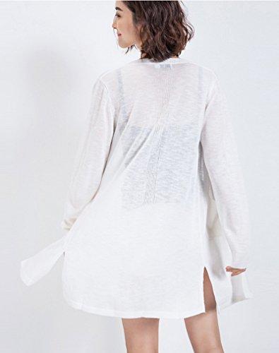 Smile YKK Sarrau Uni Manteau Trocots Cardigan Lin Manches Longue de Soleil Femme Blanc