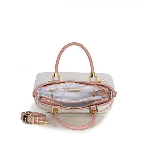 Sac à main en cuir italien Arcadia Lete avec motif de contrôle Blanc rose