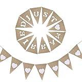 KINDPMA 2 Pcs Just Married Guirlande Mariage Banderole Vintage Fanion Toile de Jute Guirlande Triangle Decoration Mariage Vintage Cœur Guirlande Jute Bannière Deco Mariage Champetre