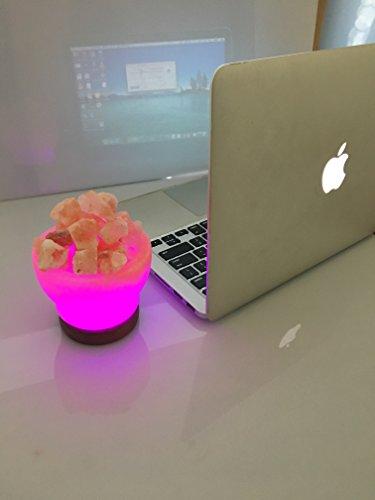 Feuerschale Himalaya-Rosa Salz Mini USB-Lampe (weiß) für Laptop, Schreibtisch oder Büro handgefertigt direkt von unseren mir in der Himilayas Mogul Usb