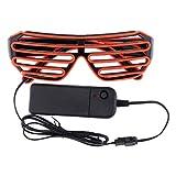 Fenteer EL Draht Leuchtbrille LED Partybrille Leucht Sonnenbrille Shutter Shade Brille Rave Gläser 80er Jahre Disco DJ Tänzer Kostüm - Rot