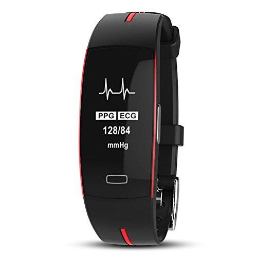 SADA72 P3 Smart Armband, PPG + EKG Light Elektrode EKG Blutdruck Smart-Armband mit Herzfrequenz-Monitor, IP67 Wasserdicht Schrittzähler, Sport Fitness Armband, rot