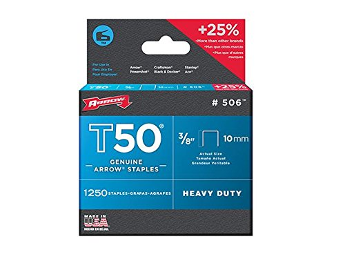"""Arrow–T50de 5000agrafes 10mm (3/8"""") (4x 1250)"""