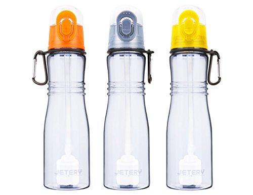 JETERY Wasserflasche Water Bottle mit Wasserfilter Trinkflasche 680m, Entfernt Chlor Bakterien Protozoen und Gerüche, Ideal für Zuhause Schule Büro Gym Outdoor Wandern Camping Reisen