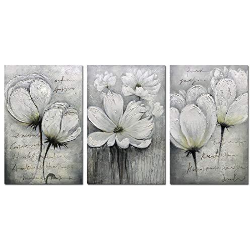 V-Inspire Gemälde, 61 x 91,4 cm x 3 Gemälde, Handgemälde, 3D handgemalt auf Leinwand, abstrakte Kunst, Holz, innen gerahmt, zum Aufhängen, Wanddekoration, abstraktes Gemälde 16x24Inchx3 Vr053