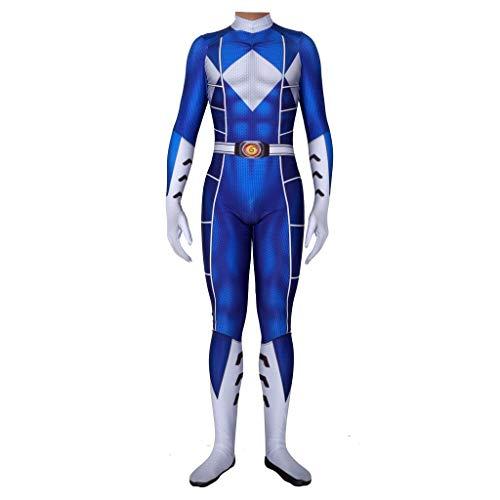 Rangers Power Kostüm Cosplay - WOLJW Power Ranger Adult Cosplay Kostüm Jumpsuit Jumpsuit Partykleid Lycra Strumpfhose Halloween Weihnachten Performance Show,Blau,XXL