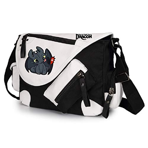 AUGYUESS How to Train Your Dragon Bolso Bandolera Bandolera Bolso de Mano Bolso de Hombro, 2 Negro...