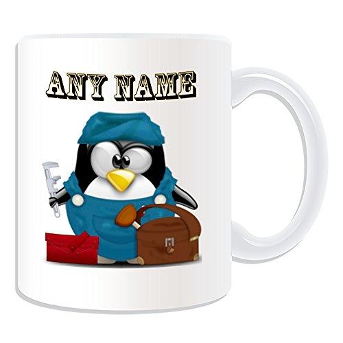 Personalisiertes Geschenk–Klempner Tasse (Design Pinguin in Kostüm Thema, weiß)–alle Nachricht/Name auf Ihre einzigartige–Darüber Ablauf Heizung ()