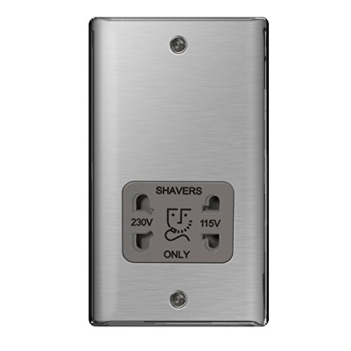 Preisvergleich Produktbild Masterplug NBS20G-01 Rasiersteckdose, für Elektrorasierer, gebürsteter Stahl, 115V/ 230V, Grau