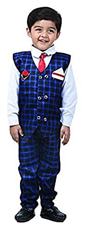 FOCIL New Blue Waistcoat Set with Shirt and Pant for Boys (2-3 Years)