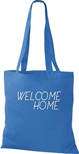 ShirtInStyle Stoff-beutel Baumwolltasche WELCOME HOME, Flüchtlinge, Bleiberecht, Farbe Olive royal
