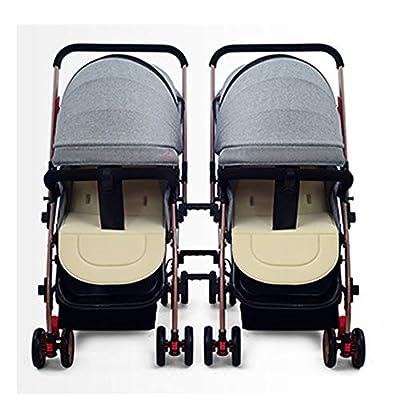 YWEIWEI Plegable Twin Silla de Paseo Gemelar, Cochecito de Bebe Gemelar(0-3 Years Old)
