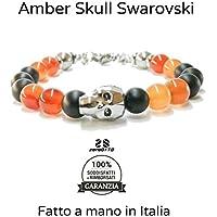 Bracciale uomo donna unisex Swarovski Skull Originale Amber Skull Braccialetto Regolabile in Acciaio amuleto con Pietre Dure Naturali nero e ambra da 8 mm e Teschio centrale da 13mm. Realizzato a Mano in Italia