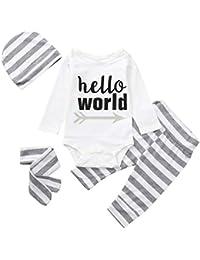 ☀☀Chaquetas Y Abrigos para Bebés Niña,4pcs Bebé Carta del Bebé De Impresión Mameluco + Pantalones De Impresión A Rayas + Sombrero + Diadema Set Outfit