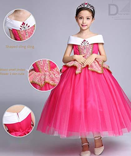 ZYLL Prinzessin verkleiden Sich Prinzessin verkleiden Sich Halloween Kostüm Kleid Party Fancy Dress Up Mädchen Prinzessin Kleid gelb rosa,Pink,120CM