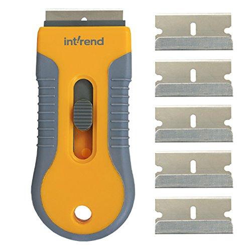 int!rend Premium Ceranfeldschaber inkl. 6 Klingen – verbesserte Schutzfunktion zur sicheren und einfachen Reinigung von Cerankochfeld & Co | grau gelb