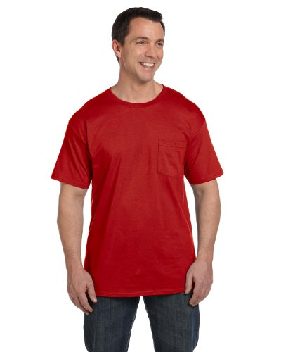 Hanes Men's Beefy-T T-Shirt With Pocket Tiefrot