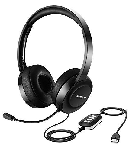【Neue Version】Mpow 158 USB Headset / 3,5 mm Computer Headset, Leichtgewicht Computer Headset mit Mikrofon, Noise Cancelling Chip für Skype Chat, Call Center, Online-Konferenz, Musik, Handy.