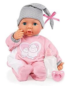 Bayer Design- Muñeca 38 cm, Piccolina Interactive, con 26 Sonidos de bebé y Accesorios, Color Rosa,Gris (93829AA)