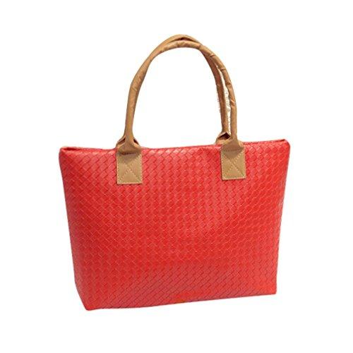 Transer  PU leather Handbags & Single Shoulder Bags Women Zipper Bag Girls Hand Bag, Damen Schultertasche mehrfarbig gold 43cm(L)*29(H)*9cm(W), rot (mehrfarbig) - ZLY60831792 rot