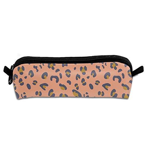 Africa Africa Leopard Print Pink Blue Gold Pencil Pouch Bag Stationery Pen Case Makeup Box with Zipper Closure 21 X 5.5 X 5 cm -