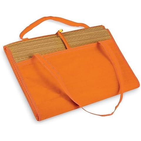 Esterilla Tapete de paja grande para verano y playa con bolsillo - Se enrolla fácilmente, con asa - Grande, Naranja,
