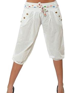 Smalltile Verano Mujeres Fashion Cintura Baja Pants con Vendaje Casual Personalidad Capri Pantalones de Linterna