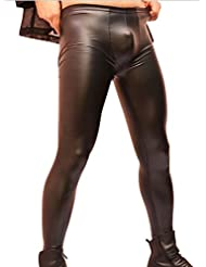 LinvMe Latex Synthétique Sexy Hommes Crayon Tight Pants