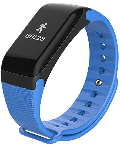 Loluka F1 Unisex Armbanduhr Blutdruck Herzfrequenzmesser Schrittzähler Kalorien Wasserdicht Sportuhren Blau