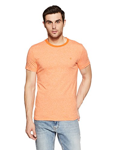 United Colors of Benetton Men's Solid Regular Fit T-Shirt (18P3GRDJ3333I_Orange_S)