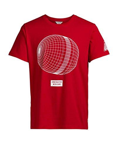 JACK & JONES Herren T-Shirt jcoANAKIN Tee Print Mehrfarbig Oversize Rot (Fiery Red Fit:OVERSIZE)