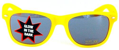 Sonnen-Brille mit UV-Schutz 400 leuchtet im dunkeln Rutschfest Party-Brille Geek-Brille Gelb