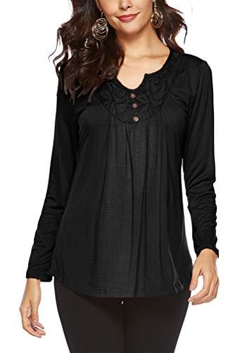 Heeyuan Mujer Casual Cuello Redondo Manga Larga Camisas La Moda Color Sólido Cómodo Pullover Blusa (Negro, M)