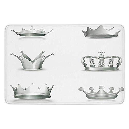 Bathroom Bath Rug Kitchen Floor Mat Carpet,Silver,Different Kinds of Antique Crowns Queen King Imperial Theme Vintage Symbol Decorative,Pale Green White,Flannel Microfiber Non-slip Soft ()
