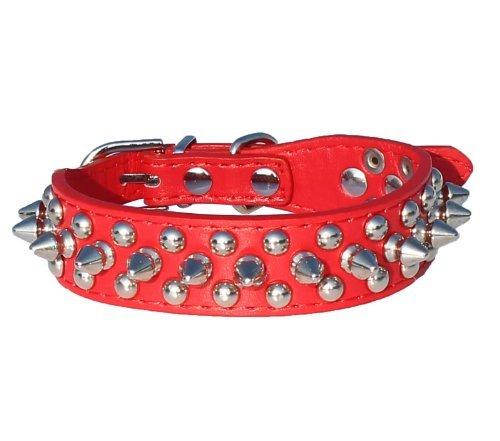 Artikelbild: Generisches Leder Spitz Nietenhalsband ein 'Wide für kleine / X-Small Rassen und Welpen (Rot , L: Für Neck 11'-13')