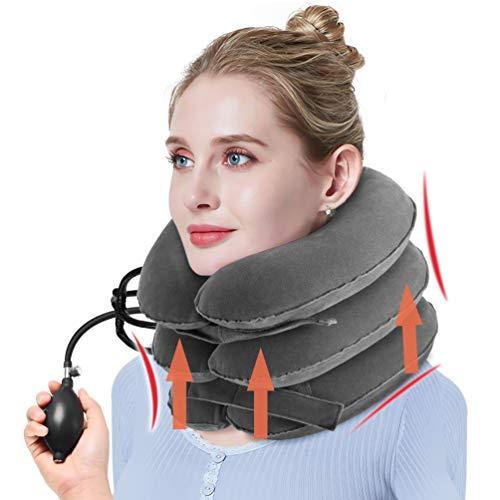 Pretty see collare per trazione cervicale gonfiabile,trazione cervicale gonfiabile dispositivo per testa e collo,3 strati, grigio