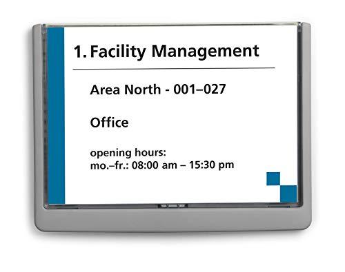 Durable 486637 Click Sign Plaque de Porte et de Signalisation avec Cadre Profilé Plastique Coloris Gris Graphite Format A5 Paysage 210 x 148,5 mm