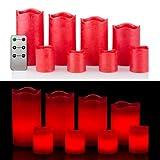 8 LED Echtwachskerzen Set mit Timer und Fernbedienung - 4 Stumpenkerzen und 4 Teelichter (Rot Metallic)